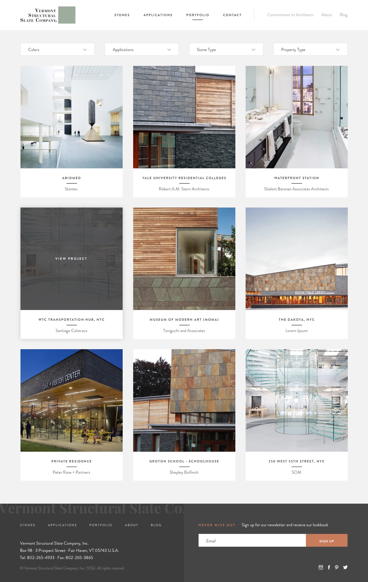 Screenshot of Vermont Structural Slate Portfolio page