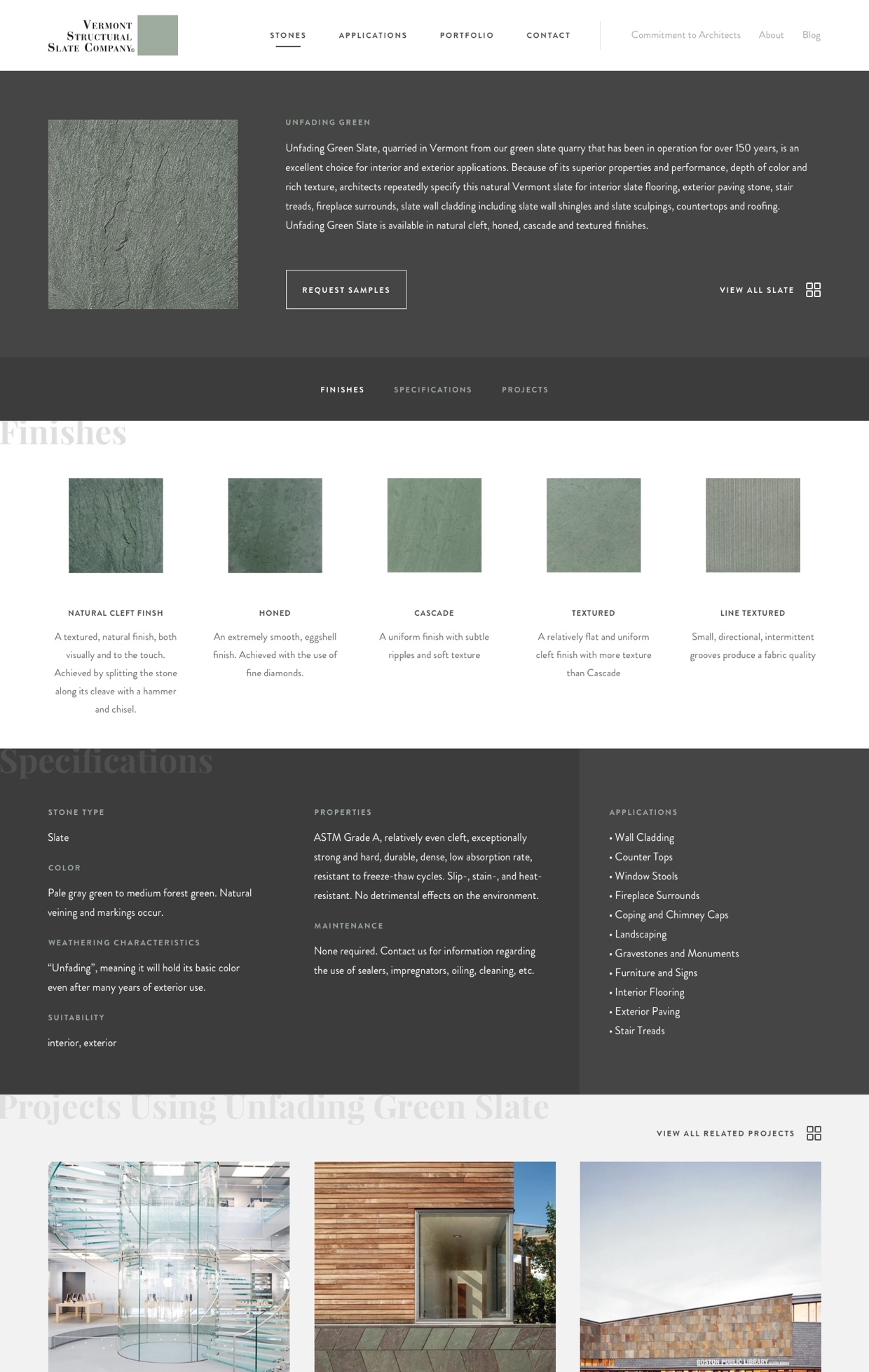 Screenshot of Vermont Structural Slate Stone detail page